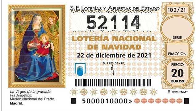 Décimo 52114 del sorteo 102-22/12/2021 Navidad