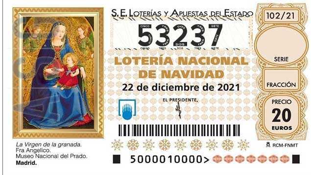 Décimo 53237 del sorteo 102-22/12/2021 Navidad