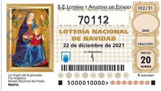 Décimo 70112 del sorteo 102-22/12/2021 Navidad
