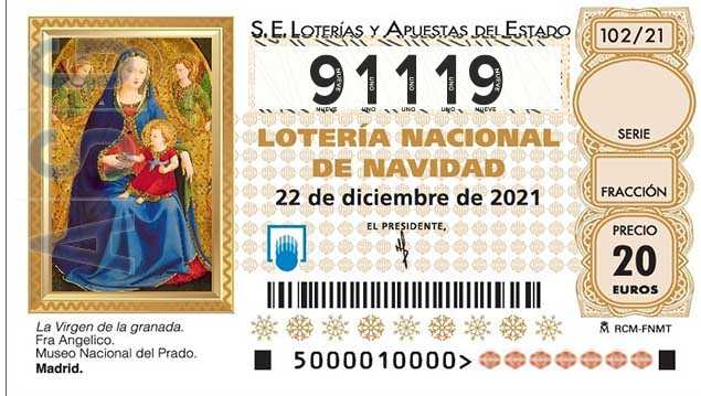 Décimo 91119 del sorteo 102-22/12/2021 Navidad