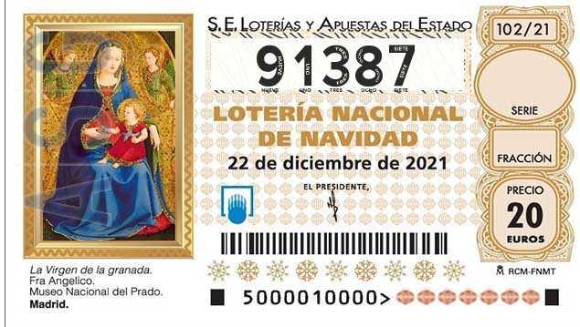 Décimo 91387 del sorteo 102-22/12/2021 Navidad