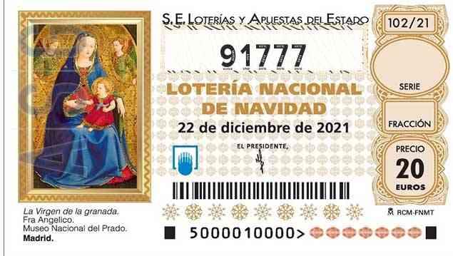 Décimo 91777 del sorteo 102-22/12/2021 Navidad