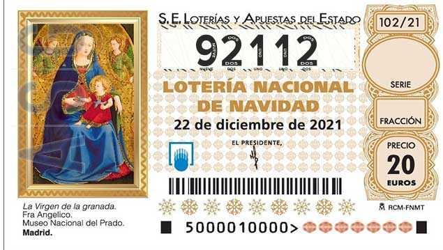 Décimo 92112 del sorteo 102-22/12/2021 Navidad
