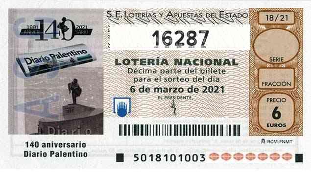 Décimo 16287 del sorteo 18-06/03/2021 Sábado