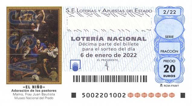 Décimo 00563 del sorteo 2-06/01/2022 El Niño