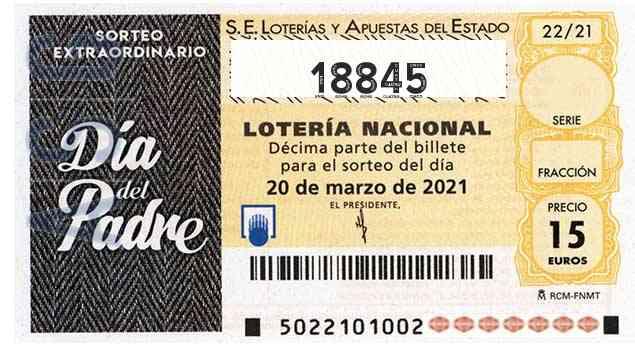 Décimo 18845 del sorteo 22-20/03/2021 Sábado