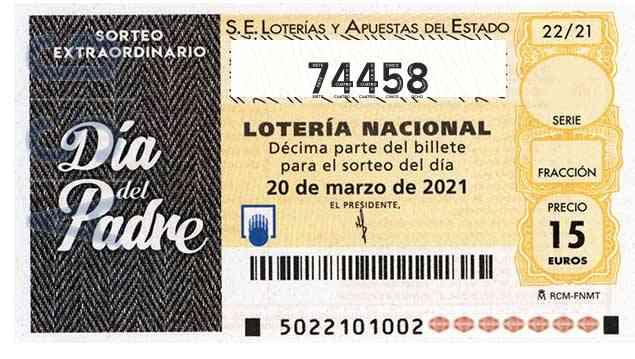 Décimo 74458 del sorteo 22-20/03/2021 Sábado