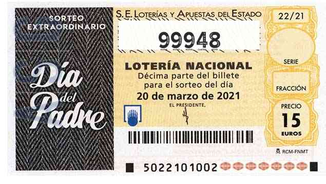 Décimo 99948 del sorteo 22-20/03/2021 Sábado