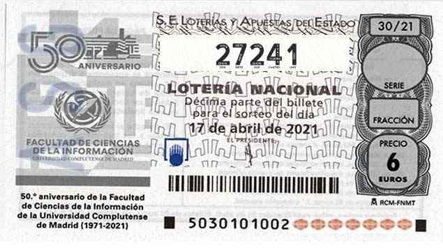 Décimo 27241 del sorteo 30-17/04/2021 Sábado