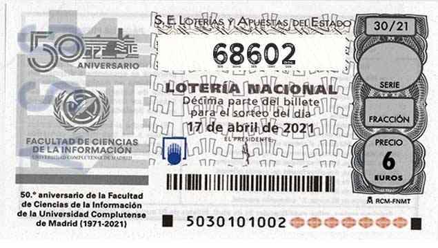 Décimo 68602 del sorteo 30-17/04/2021 Sábado