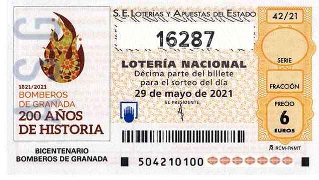 Décimo 16287 del sorteo 42-29/05/2021 Sábado