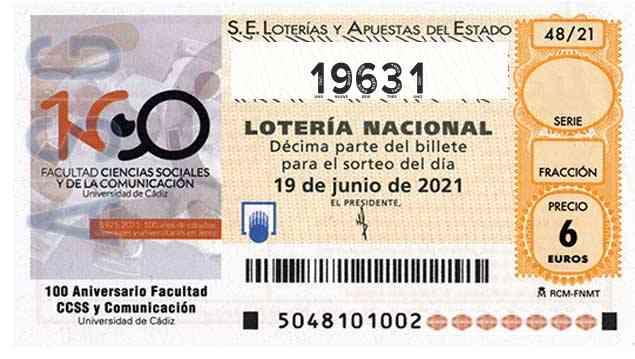 Décimo 19631 del sorteo 48-19/06/2021 Sábado