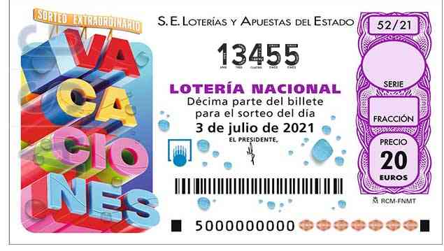 Décimo 13455 del sorteo 52-03/07/2021 Sábado