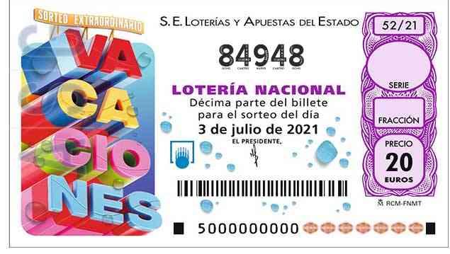 Décimo 84948 del sorteo 52-03/07/2021 Sábado
