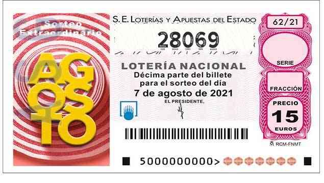 Décimo 28069 del sorteo 62-07/08/2021 Sábado