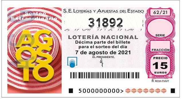 Décimo 31892 del sorteo 62-07/08/2021 Sábado