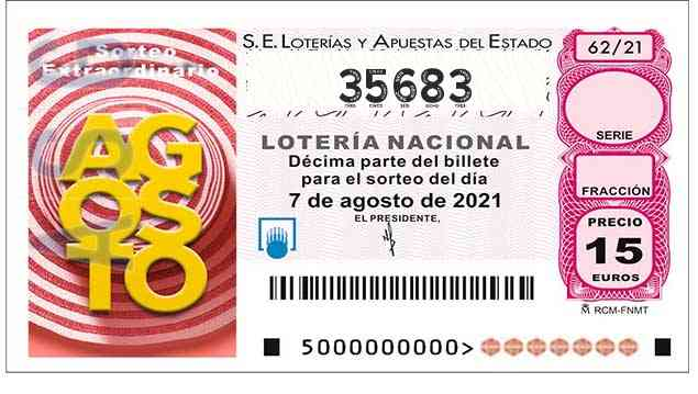 Décimo 35683 del sorteo 62-07/08/2021 Sábado
