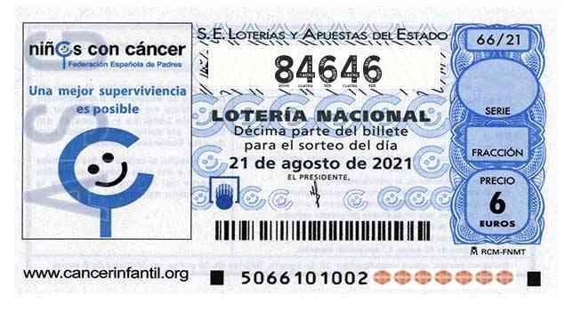 Décimo 84646 del sorteo 66-21/08/2021 Sábado