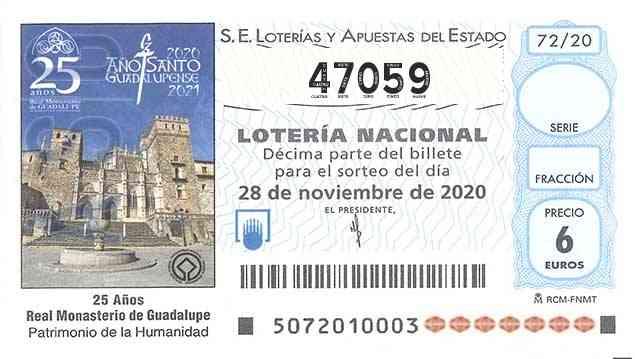 Décimo 47059 del sorteo 72-28/11/2020 Sábado