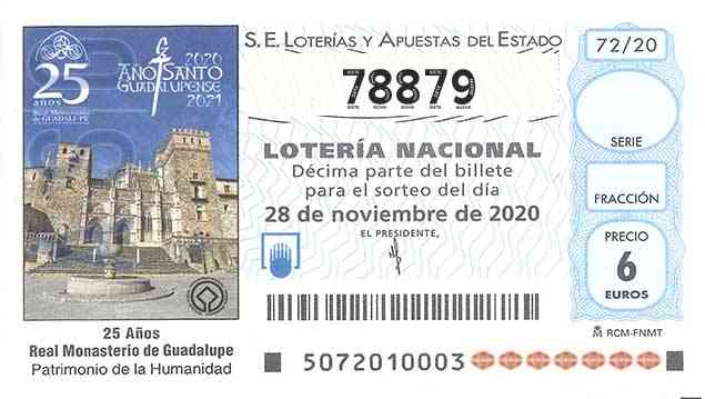 Décimo 78879 del sorteo 72-28/11/2020 Sábado