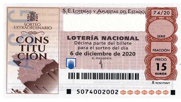 Décimo 18816 del sorteo 74-06/12/2020 Sábado