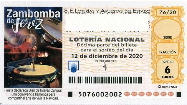 Décimo 10000 del sorteo 76-12/12/2020 Sábado