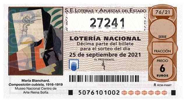 Décimo 27241 del sorteo 76-25/09/2021 Sábado