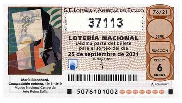 Décimo 37113 del sorteo 76-25/09/2021 Sábado