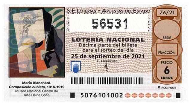 Décimo 56531 del sorteo 76-25/09/2021 Sábado