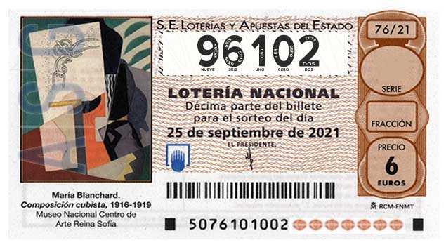 Décimo 96102 del sorteo 76-25/09/2021 Sábado