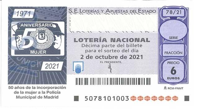 Décimo 00641 del sorteo 78-02/10/2021 Sábado
