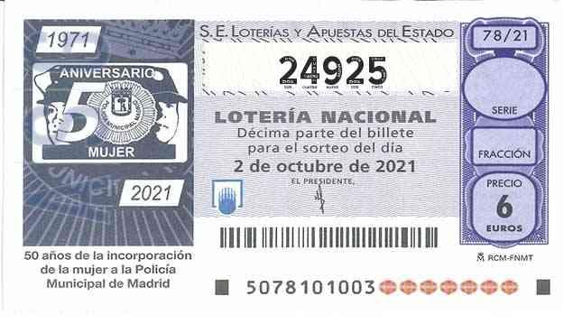 Décimo 24925 del sorteo 78-02/10/2021 Sábado