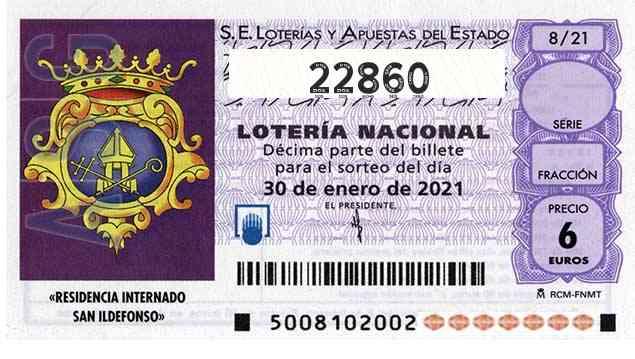 Décimo 22860 del sorteo 8-30/01/2021 Sábado