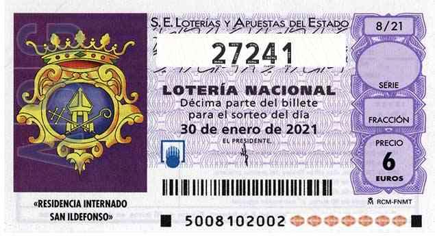 Décimo 27241 del sorteo 8-30/01/2021 Sábado
