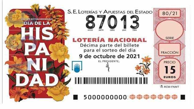 Décimo 87013 del sorteo 80-09/10/2021 Sábado