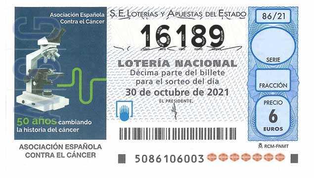 Décimo 16189 del sorteo 86-30/10/2021 Sábado
