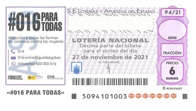 Décimo 11680 del sorteo 94-27/11/2021 Sábado
