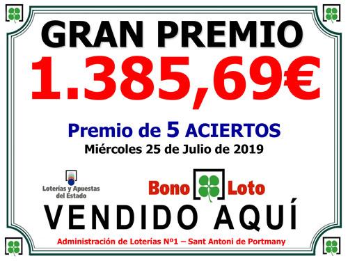 Gran Permio de Bonoloto vendido en LoteriaIbiza.com
