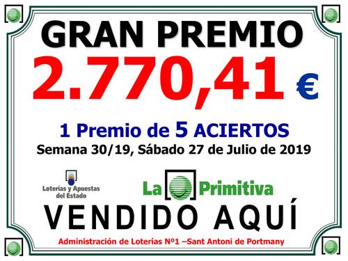 Premio La Primitiva vendido en LoteriaIbiza.com
